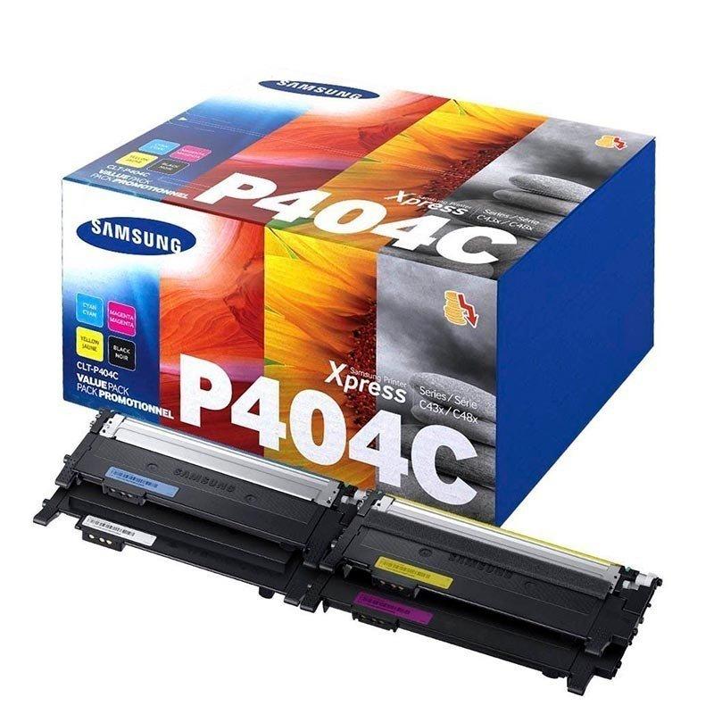 HP Samsung SL-C430W/SL-C480W Paquete de Cartuchos de Tóner Cyan, Magenta, Amarillo y Negro CLT-P404C 4,500 pag.